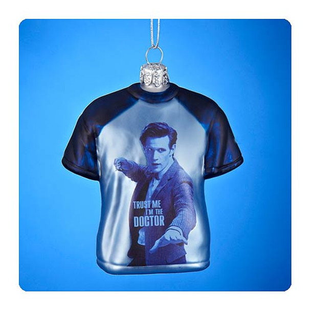 Doctor Who Eleventh Doctor T-Shirt Glass Ornament