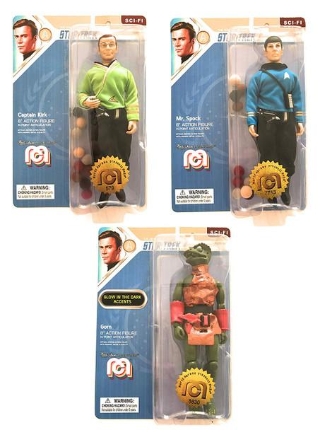 Star Trek Mego 8-Inch Retro Action Figure Wave 6 Set of 3 - Gorn, Kirk, Spock