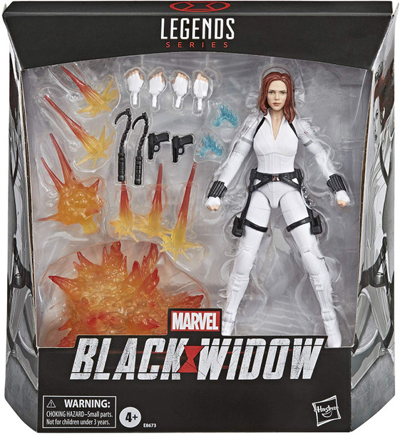 Black Widow Marvel Legends 6-Inch Deluxe White Costume Action Figure with Stand