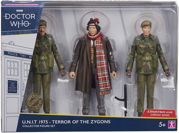 Doctor Who 1975 U.N.I.T Terror of The Zygons - Includes The 4th Doctor, Sergeant John Benton, & U.N.I.T Trooper with SSMG Accessory