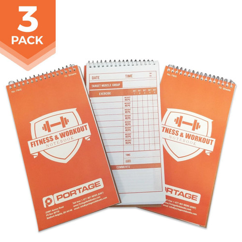 "3 Pack | Fitness & Workout Notebook #7900 | 4"" x 8"""