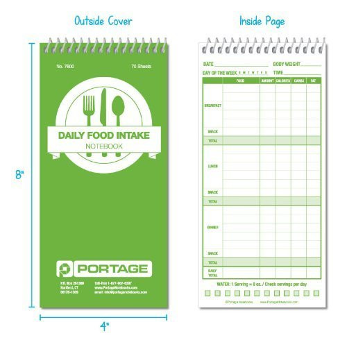 3 pack daily food intake log notebook 7600 4 x 8 portage