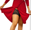 Onyx Thigh Bands Black in Red Dress