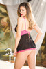 Babydoll Mesh & Stretch Lace  Back BLACK/HOT PINK