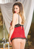 Babydoll Mesh & Stretch Lace Back RED/BLACK