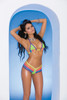Lycra bikini top and matching g-string with contrast trim.