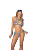 Lycra bikini top and matching g-string with turquoise trim.