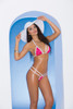 Lycra bikini top and matching g-string with white trim.