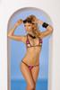 Lycra bikini top and matching g-string with black trim.