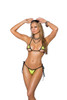Lycra bikini top and matching g-string with black trim and front ruching.