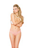 Lace panty with double straps and back satin bow detail.