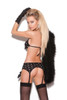 Opaque bra top, garter belt and g-string.