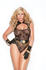 Lace teddy with keyhole front.
