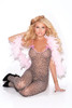Bodystocking with open crotch and satin bows.