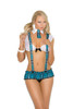 Campus Flirt - Mesh cami top, pleated mini skirt with detachable suspenders and collar with attached tie.