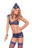 Mile High Mistress - Mesh top, skirt with attached leg garters, g-string, scarf and hat.