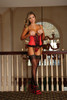 Cupless Corset & G-String Red/Black