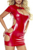 Provocative Wet Look Dress Red Front