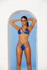 Royal Blue Lame Bikini Top W/ High Waisted Thong Front Color
