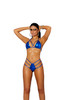 Royal Blue Lame Bikini Top W/ High Waisted Thong Front