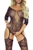 Floral Motif Bodystocking Open Black 2