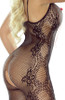 Floral Embroidery Bodystocking Open Black 6