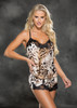 San Washed Leopard Print Charmeuse Lace Cami Top Set Front