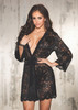 Beautiful Stretch Lace Long Sleeve Robe Trimmed Black