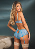 Stretch Lace Mesh High Waisted Panty Vista Blue Back