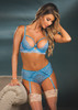 Stretch Lace Mesh High Waisted Panty Vista Blue Front