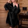 Sexy Silk Satin Kimono Lace Robe 4