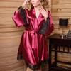 Sexy Silk Satin Kimono Lace Robe 19