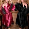 Sexy Silk Satin Kimono Lace Robe 20