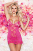Lace Mesh Chemise W/Peek A Boo Cups G-String Hot Pink Front