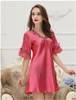 Lace Long Robes Pink Silk Robes Satin Kimono