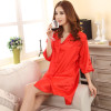 Red Faux Silk Mini Robes Solid Color  One Size A161