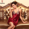 V Neck Faux Silk Satin Wine Red Mini Robes De Nuit Sy99