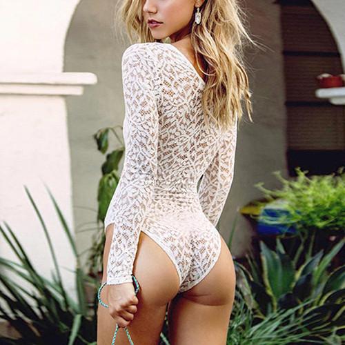 White Crochet Lace Bodysuits
