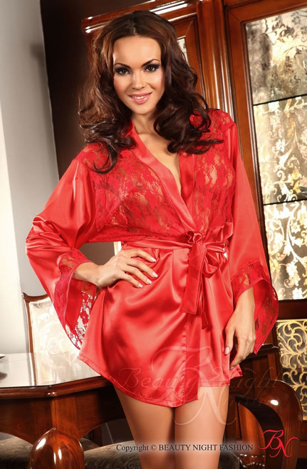 Prilance Shorty Dressing Gown Red Front CBG