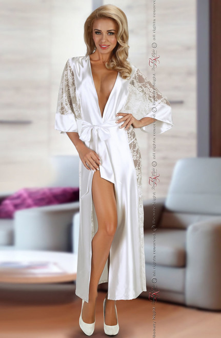Sexy Bouquet Lace Satin Dressing Gown White Front CBG