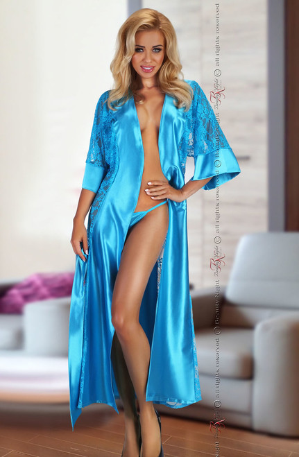Bouquet Lace Dressing Gown Turquoise Front CBG