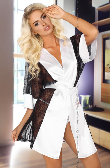 Stephanie Sexy Satin Dressing Gown White Front CBG
