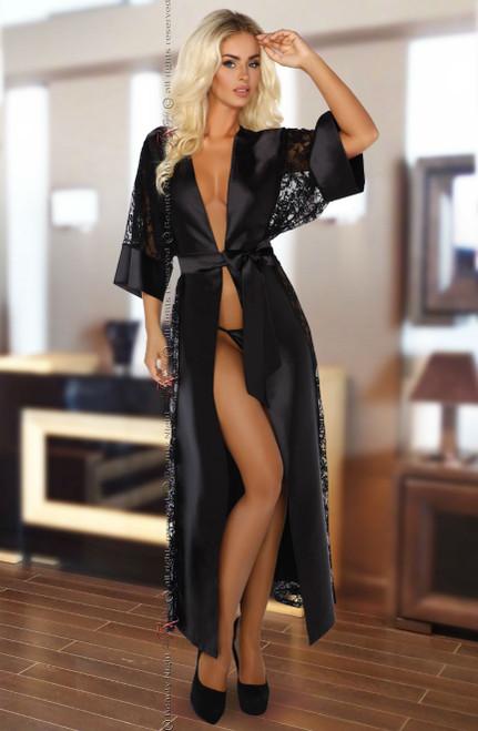 Bouquet Peignoir Lace Dressing Gown  Black Front CBG