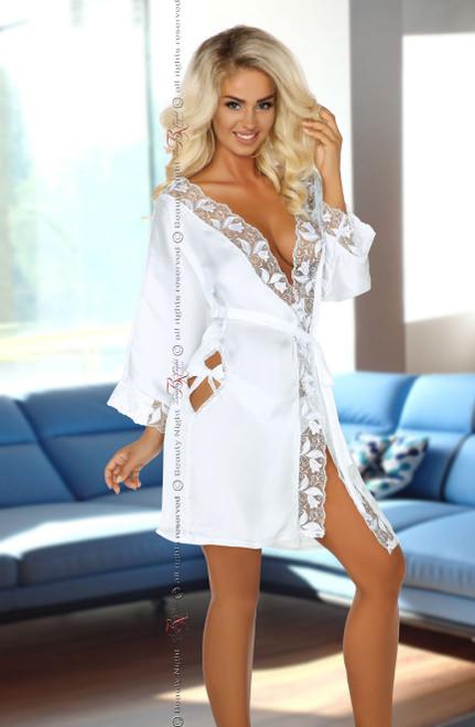 Ambrosia Peignoir Silk Satin Robe White Front CBG