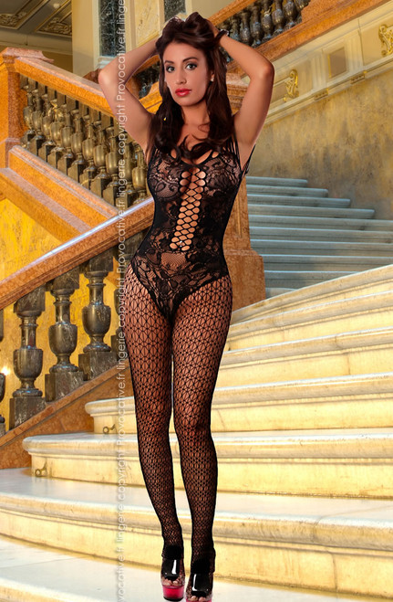 See Through Bodystocking Large Hole Fishnet  Front