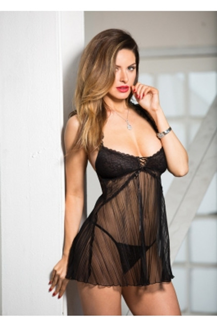 Stretch Lace Pleated Net Baby Doll Front BLACK