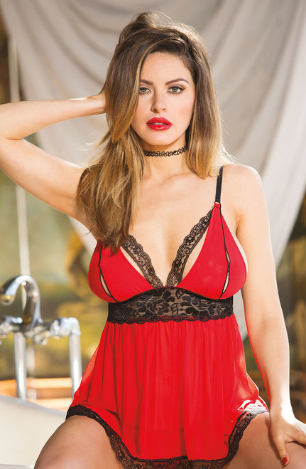 Babydoll Mesh & Stretch Lace Front RED/BLACK