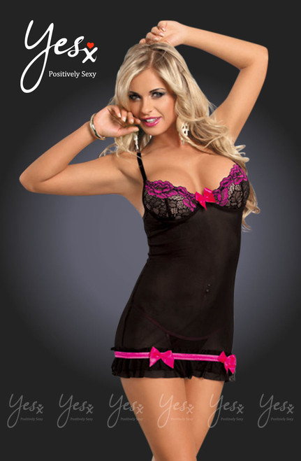 Mesh Lace Chemise Rose/Black Front