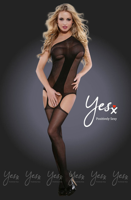 Yesx Open Crotch Bodystocking Black Front CBG