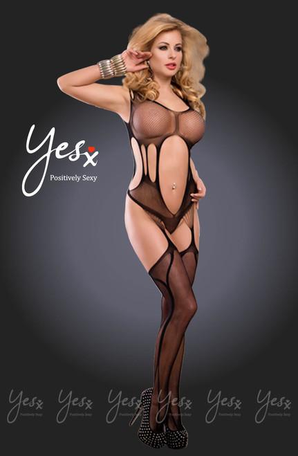 YesX Sexy Fishnet Bodysuit Black  Front CBG